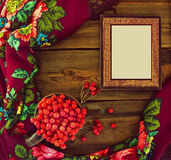 Photo frame with viburnum and bright kerchief Royalty Free Stock Image