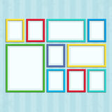 Photo frame on wall in a flat style. Set of colored photo frames. Colored photo frame on vintage wall in a flat style  on a background Stock Images