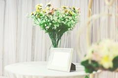 Photo frame. White photo frame for wedding decoration Stock Photos