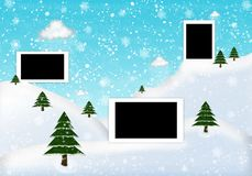 Photo frame winter with fir and snow vector illustration