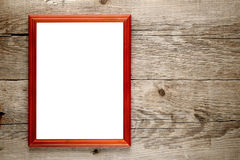 Photo frame on wood Stock Images