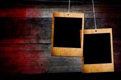 Photo frame on wood background stock image