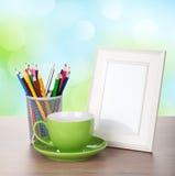 Photo frame on wood table Stock Photo