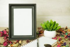Photo Frame on Wood Table with Notebook, Dry Flower Petals and Potted Plant. Standing photo frame on wood background with notebook diary, pen, potted plant and Royalty Free Stock Images