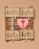 The photo frame wood on the wall with birds and valentines card Royalty Free Stock Photos
