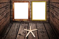 Photo frame on wood wall texture. Stock Photos