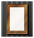 Photo frame - wooden. Detailed vector illustration of wooden photo frame, hanging on grey wallpaper Royalty Free Stock Photography