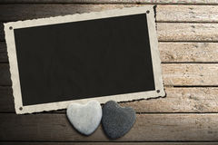Photo Frame on Wooden Boardwalk with Sand Royalty Free Stock Photography