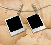 Photo frames. Blank photo frames isolated on old background Stock Photos