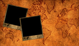 Photo frames. On map texture royalty free stock photos