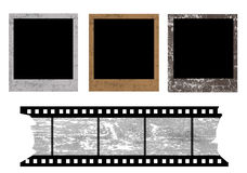 Photo frames. Old photo frames and film strip on white background, vector illustration Stock Image