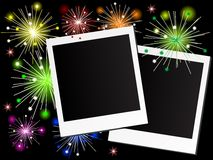 Photo frames. And the fireworks Stock Images