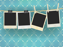 Photo Frames. Vector Collection of Old Retro Blank Photo Frames Hanging on Rope - on Vintage Wallpaper stock illustration