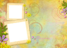 Photo frames on the abstract background. Photo frames on the abstract pastel-colored paper background with the flowers and pearls Stock Image