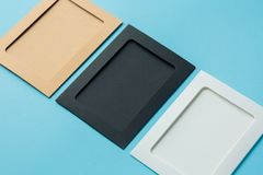 Photo frames on a blue background, multi-colored Stock Photo