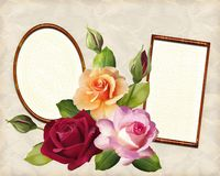 Photo frames and a bouquet of roses in the illustration royalty free illustration