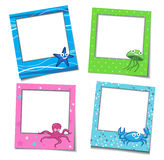 Photo Frames With Cartoons. Four Cute Photo Frames With Sea Creatures Royalty Free Stock Photo