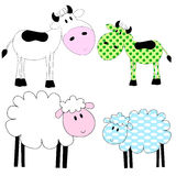 Photo  frames for children. Cows and sheep - white and patchwork Royalty Free Stock Photos