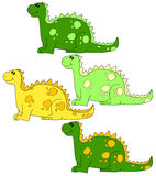 Photo  frames for children. Four different colors dragons or dinosaurs Stock Photos