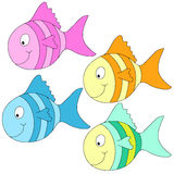 Photo  frames for children. Four different colors and smiling fishes Stock Photography