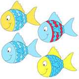 Photo  frames for children. Four different colors and smiling fishes Royalty Free Stock Images