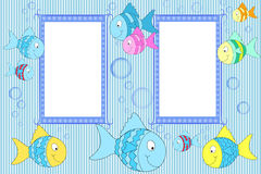Photo  frames for children. Kid scrapbook with fish and bubbles - Photo  frames for children Royalty Free Stock Photography