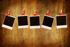 Photo frames with christmas ornaments