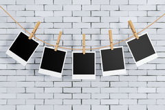 Photo Frames with Clothespins. 3d Rendering Royalty Free Stock Photos