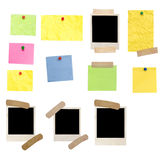 Photo frames and colored empty notes Stock Images