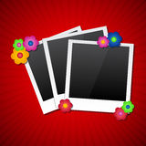 Photo frames with colored flowers Stock Images