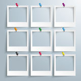 9 Photo Frames Colored Thumbtacks Royalty Free Stock Photography