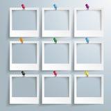 9 Photo Frames Colored Thumbtacks Royalty Free Stock Photography