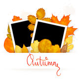 Photo frames with colorful autumn leaves Royalty Free Stock Photography