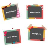 Photo frames, colorful photo frames for photos, a set of color photo frames. Flat design, vector illustration, vector Stock Photography