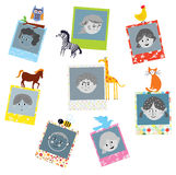 Photo frames designs for kids with funny animals Royalty Free Stock Images