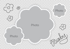 Photo frames flowers template for sweet baby. Vector illustration Royalty Free Stock Photography