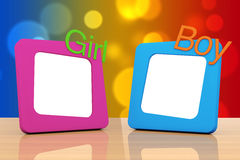 Photo Frames with Girl and Boy Signs. 3d Rendering Royalty Free Stock Images