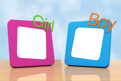 Photo Frames with Girl and Boy Signs. 3d Rendering Royalty Free Stock Photography