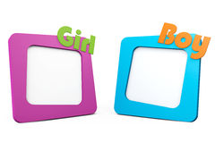 Photo Frames with Girl and Boy Signs Stock Image
