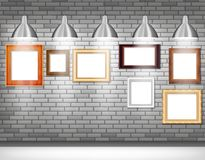 Photo frames on gray wall Royalty Free Stock Photography