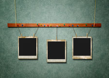 Photo Frames on green textured Royalty Free Stock Images
