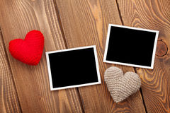 Photo frames and handmaded valentines day toy hearts royalty free stock photography