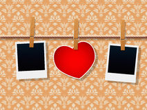 Photo Frames And Heart Royalty Free Stock Photo