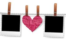 Photo frames and heart on rope. Love message by photo snapshot frames and heart on rope for scrap. Polaroid blank for picture of family album. Element for design royalty free illustration