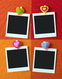 Photo frames with heart shape peg Stock Photos