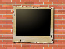 Photo Frames Indicates Blank Space And Brick-Wall Royalty Free Stock Photos