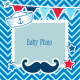 Photo Frames For Kids. Decorative Template For Baby Boy. Scrapbook Vector Illustration. Photo Frame Collage For Boy Royalty Free Stock Image