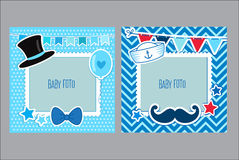 Photo Frames For Kids. Decorative Template For Baby Boy. Scrapbook Vector Illustration. Royalty Free Stock Images