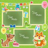 Photo Frames For Kids. Decorative Template For Baby, Family Or Memories. Scrapbook Vector Illustration. Royalty Free Stock Images