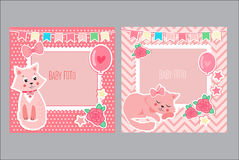 Photo Frames For Kids. Decorative Template For Baby Girl. Scrapbook Vector Illustration. Royalty Free Stock Photos